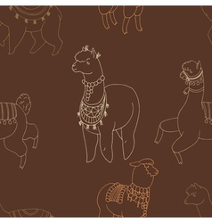 Fun alpaka and lama in festive decorations vector
