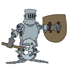 Funny knight with a war axe vector