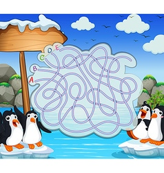 Game template with penquins on iceberg vector