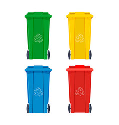 garbage bin for recycle icons set rubbish waste vector image