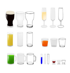 glasses for beer wine and other beverages vector image