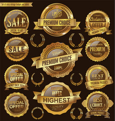 golden retro badges and labels collection vector image