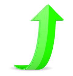 Green arrow up rising 3d icon vector