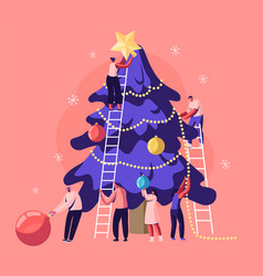 happy tiny people decorate huge christmas tree vector image