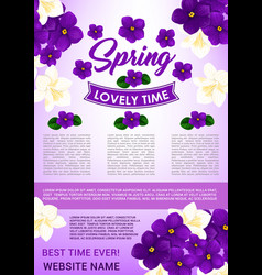 hello spring floral poster template design vector image