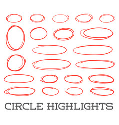 Highlight circles set collection hand drawn red vector