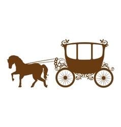 Horse carriage romantic card vector
