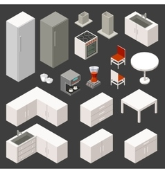 isometric kitchen set vector image