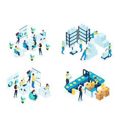 Isometric set concept warehouse holding company vector