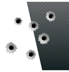 Isometric shot gun bullets and bullet holes vector