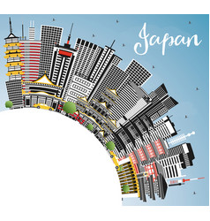 Japan city skyline with gray buildings blue sky vector