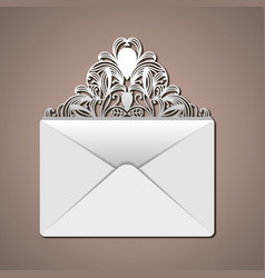 laser cutting in flap of envelope with decorative vector image