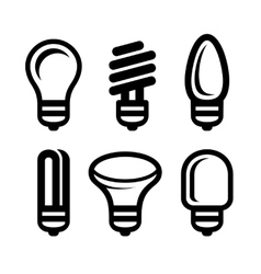 Light Bulb Icons Set on White Background vector image