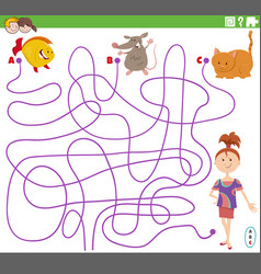Line maze task with girl and pet characters vector