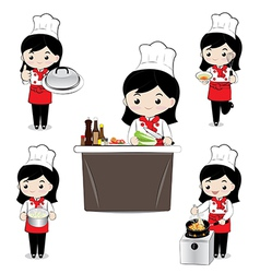 Little girl chef vector