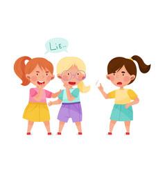Little girl telling lie to her agemate vector