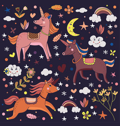 Magical cute unicorns in dark background vector