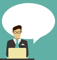 Man at desk with speech bubble vector