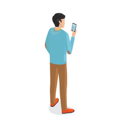 Man in blue sweater brown trousers and red boots vector