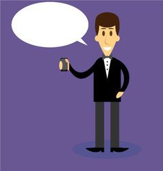 Man with smartphone bubble speech vector image