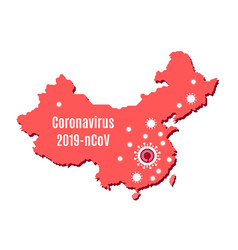 Map china and coronavirus outbreak in wuhan vector