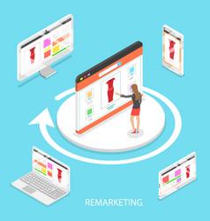 Marketing retargeting isometric flat vector