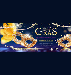 mask with feather for mardi gras carnival banner vector image