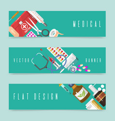 medical instrument set of banners first-aid set vector image