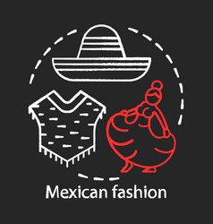 Mexican fashion chalk concept icon south american vector