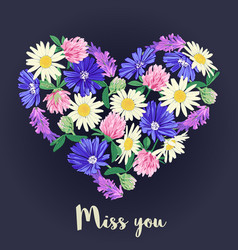 Miss you card with floral heart vector