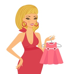 Mom-to-be expecting baby girl vector image