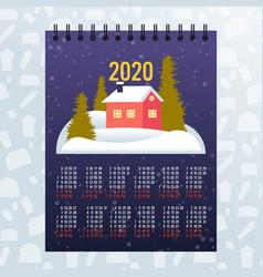 Moon 2020 calendar merry christmas happy new year vector