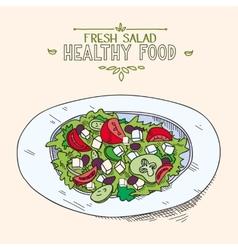 Natural fresh mixed Greek salad with sliced vector