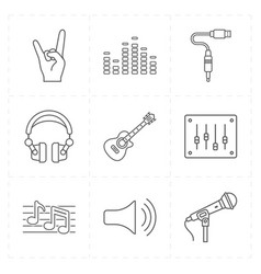 nine universal flat music icons vector image
