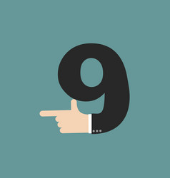 Number 9 letter businessman hand font it shows vector