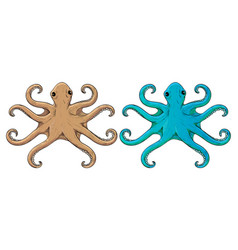 Octopus beige and blue hand drawn sketch vector