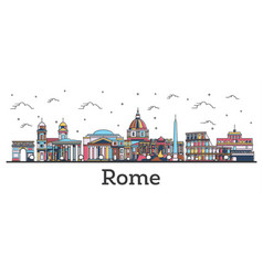 outline rome italy city skyline with color vector image
