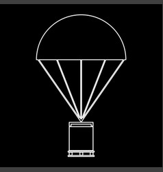 Parachute with cargo the white path icon vector