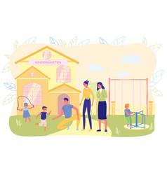 Parents came for little children at kindergarten vector