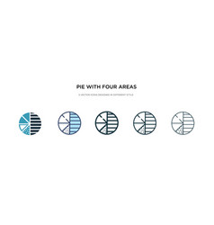 pie with four areas icon in different style two vector image