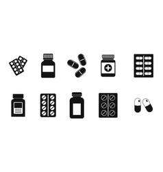 pills icon set simple style vector image
