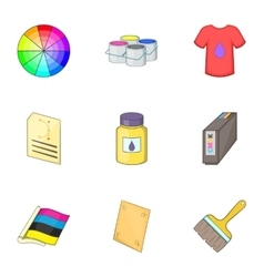 Printing office icons set cartoon style vector