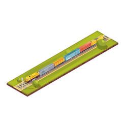 Railroad haul isometric composition vector