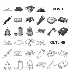 Rest in the camping monochrom icons in set vector