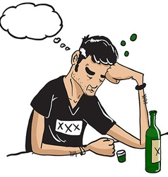 sad man with thought bubble drinking isolated on vector image