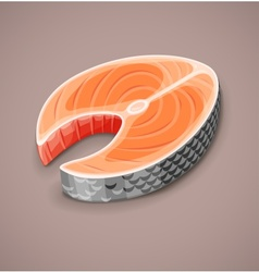 Salmon steak of red fish for sushi vector image
