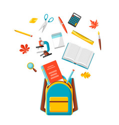 school backpack with education items vector image