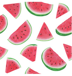 Seamless pattern with watermelon slices on white vector