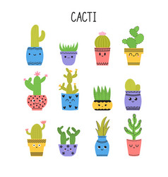 Set of cacti and succulents cacti in flower pots vector