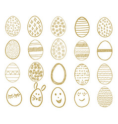 set of easter eggs egg icons collection in doodle vector image